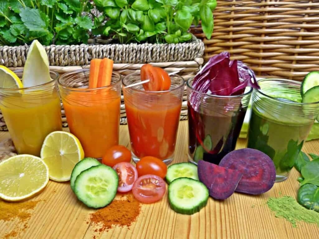 variety of healthy juice cleanse