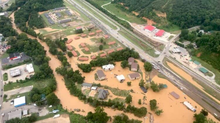 Flash flooding in Waverly, Tennessee